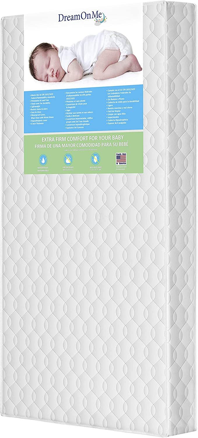 Dream On Me Full Size Firm Foam Crib and Toddler Bed Mattress, Carousel, 6-Inch