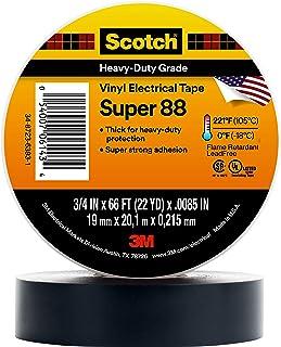 Scotch Vinyl Electrical Tape Super 88, 3/4 in x 44 ft, Black