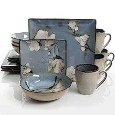Gibson Elite Bloomsbury 16 Piece Reactive Glaze Dinnerware Set, Blue -