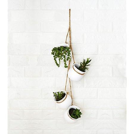 4 Pot Bright Pastel Ceramic Hanging Flower Planter Set Blue Kitchen Dining