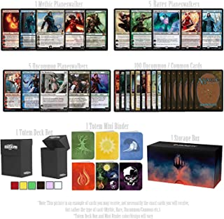 Totem World Magic The Gathering Holiday Lot: 1 Mythic, 5 Rare Planeswalker, 5 Uncommon Planeswalker, 100 Uncommon with a Totem Deck Box & Mini Binder Inside a Toolkit Storage Deck Builder Gift Box