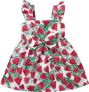 GRNSHTS Toddler Kids Baby Girl Dress Strawberry Print Skirt Ruffle Sling Bowknot Princess Sundress