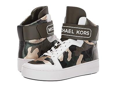 MICHAEL Michael Kors Trent High Top (Olive Multi Camo Printed Metallic Nappa/Vachetta) Women