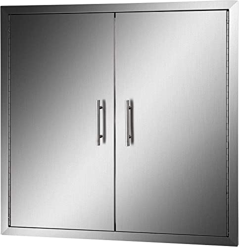 new arrival Mophorn 31 outlet online sale Inch BBQ Access Door 304 Stainless Steel BBQ Island outlet sale 31W x 31H Inchs Double Door with Paper Towel Holder for Outdoor Kitchen outlet online sale