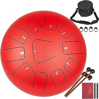 Anhon Tambor de Lengua de Acero 12 Pulgadas 30 cm Handpan Drum con 11 Teclas de Notas con Bolsa Libro de Música Mazos Puntas de Dedo Rojo