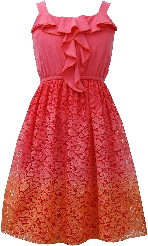 Big Girls Tween 7-16 Orange Ruffly Knit to Ombre Lace Social Dress