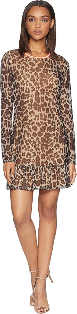 Leopard Print Drop Waist Bell Sleeve Dress