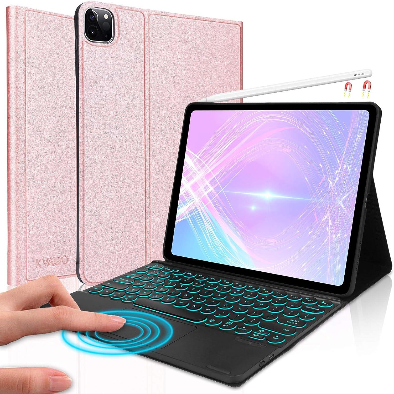 Keyboard Case for iPad Pro 12.9 2020 4th Gen/ 2018 3rd Gen, Detachable Wireless Touchpad Keyboard -7 Colors Backlight- Auto Sleep/Wake- iPad Pro 12.9 Case with Keyboard, Rose Gold