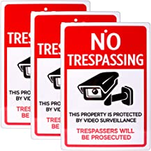"No Trespassing Sign 3-Pack | 18"" x 12"" Reflective Video Surveillance Pre-Drilled Metal Industrial Warning Sign for Private Property, Parking Lots, Home Driveways, Yards, Businesses, Security Cameras"