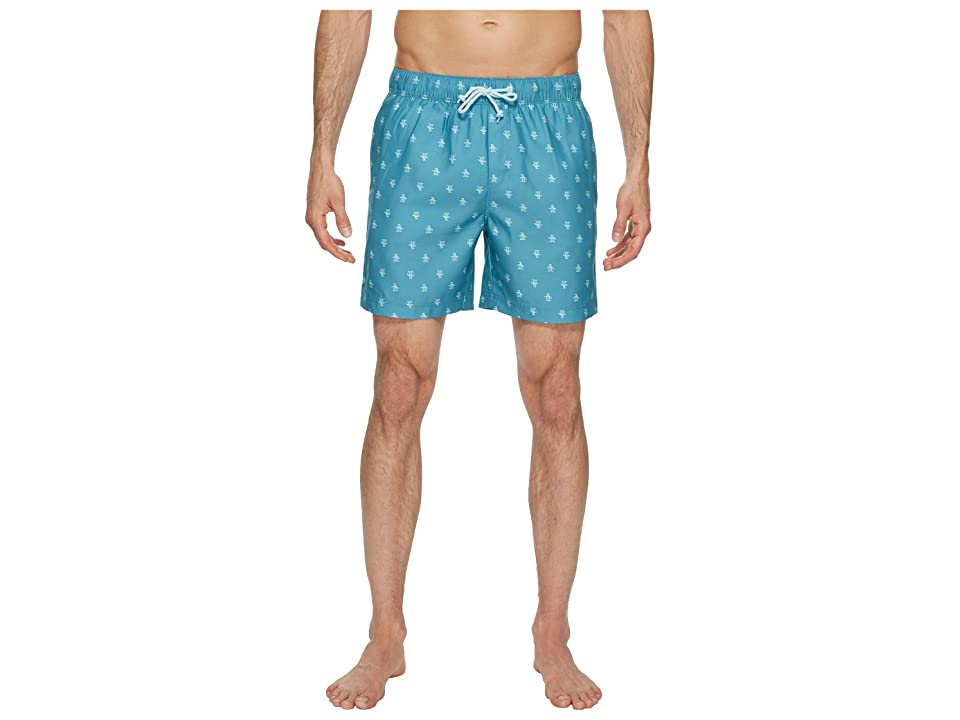 Original Penguin Penguin Print Swim Trunk (Storm Blue) Men