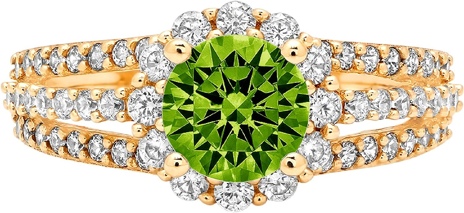 1.92ct Brilliant Round Cut Halo Solitaire Designer Genuine Natural Vivid Green Peridot Gemstone Ideal VVS1 Engagement Promise Statement Anniversary Bridal Wedding with accent ring 14k Yellow Gold