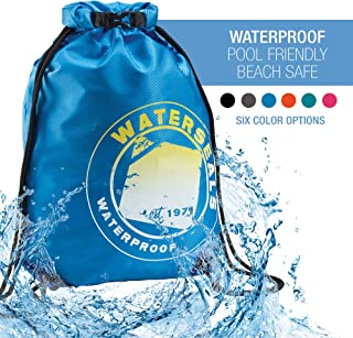 WaterSeals Cinch Drawstring Backpack with Ripstop Waterproof Material to Protect Wallet, iPhone and Valuables at The Beach, Pool + Camping, Royal Blue