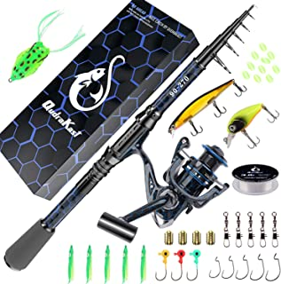 QudraKast Fishing Rod and Reel Combos, Unique Design with X-Warping Painting, Carbon Fiber Telescopic Fishing Rod with Reel Combo Kit with Tackle Box, Best Gift