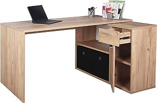 RICOO WM083-EG Bureau Angle avec Rangement Table Console Extensible Meuble Bureau avec tiroir Étagère Armoir à Dossier Boi...