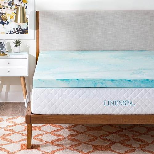 Linenspa 3 Inch Gel Swirl Memory Foam Topper-King