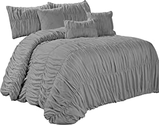HIG 7 Piece Rosales Chic Ruched Ruffled Pleated Comforter Sets Gray- Queen King Size (Cal King, Gray)