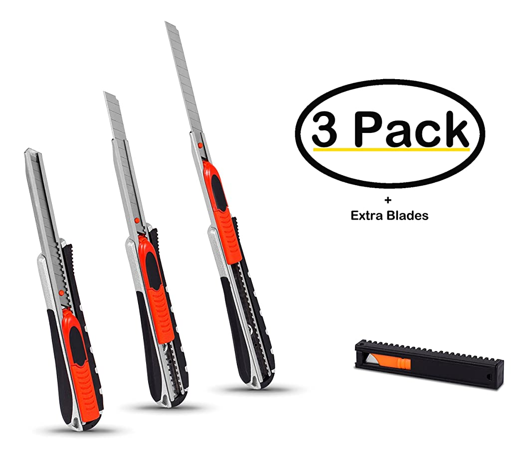 Internet's Best Utility Knife Dual-System Cutters | Small | Set of 3 | Snap-Off Blade | Retractable Razor Knife Set | Box Cutter Locking Razor Knife