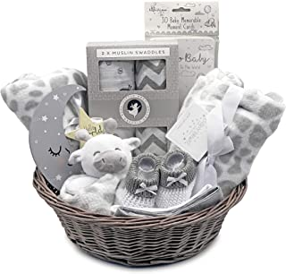 Cesta de regalo para recién nacidos, 100% algodón orgánico, felpa y mucho más. El mejor regalo unisex para todas las ocasiones.