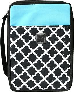 "Enesco Faith & Grace by Gregg Gift Black Turquoise Cross Pattern Microfiber Bible Cover, 10"""
