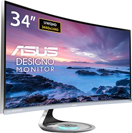 "$559 Get Asus MX34VQ Designo Curved 34"" Monitor UQHD 100Hz DP HDMI Eye Care Monitor with Adaptive-Sync, 34"" (Renewed)"