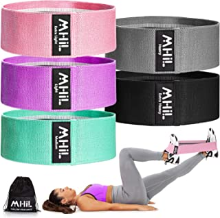 MhIL 5 Resistance Bands - Best Exercise Bands for Women and Men - Thick Elastic Fabric Workout Bands for Wo...