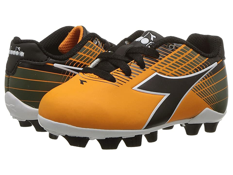 Diadora Kids Ladro MD JR Soccer (Toddler/Little Kid/Big Kid) (Orange/Black) Kids Shoes
