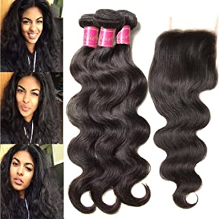 ALI JULIA 14 16 18+12 Inch Brazilian 10A Body Wave Hair 3 Bundles with 1PC 4x4 Free Part Lace Closure 100% Unprocessed Human Hair Weave Extensions Natural Color