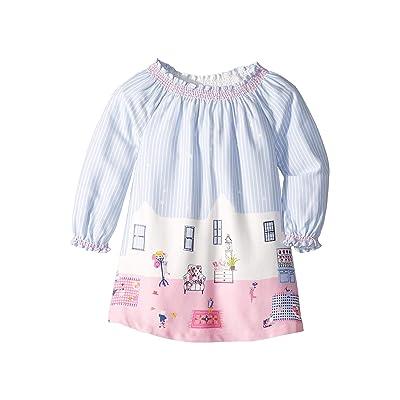 Joules Kids Woven Border Dress (Infant) (Sky Blue Bear Border) Girl