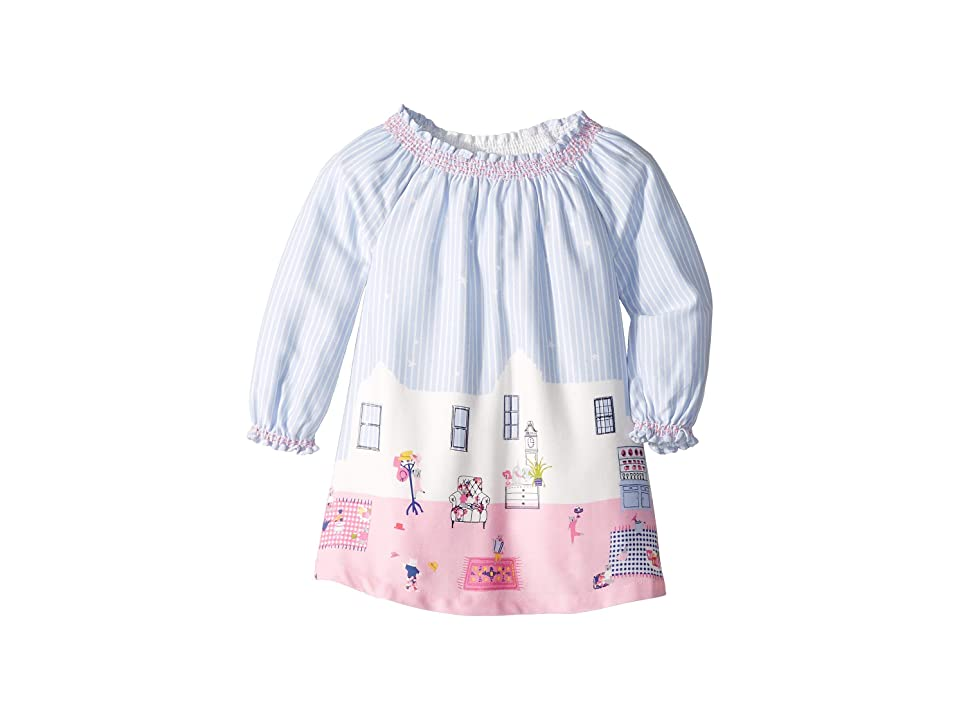Joules Kids Woven Border Dress (Infant) (Sky Blue Bear Border) Girl