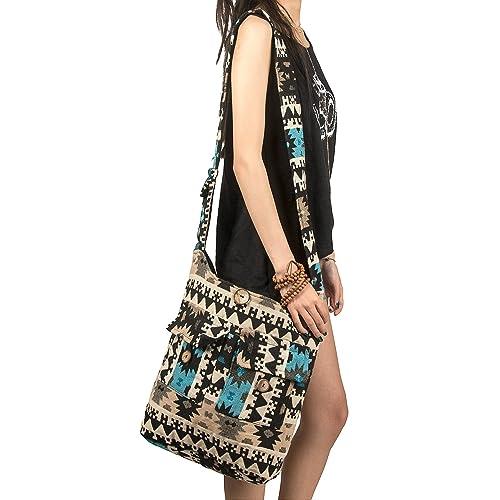 08359eae7430 Tribe Azure Large Blue Quilted Hobo Shoulder Bag Crossbody Sling Beach  Travel
