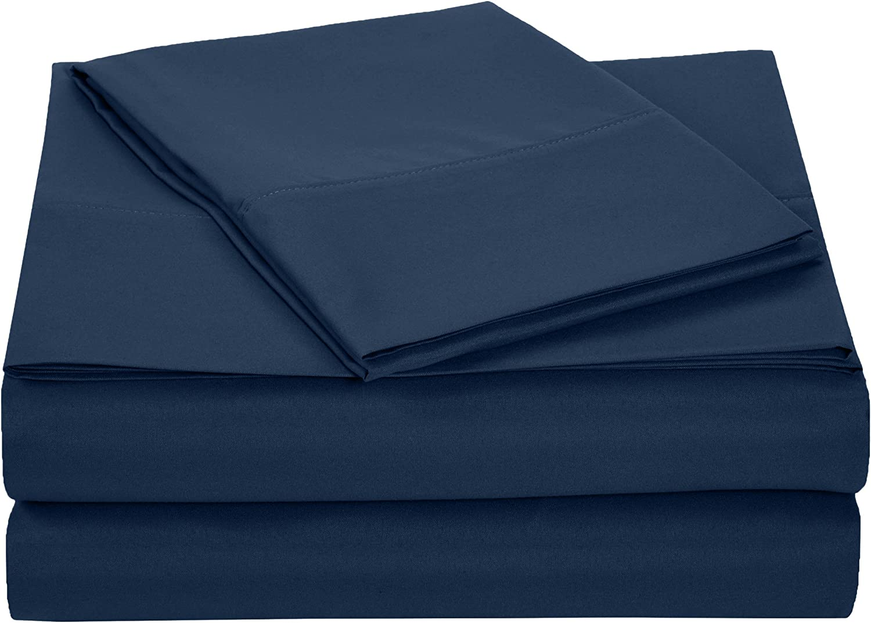 AmazonBasics Microfiber Sheet Set - Twin Extra-Long, Navy bluee, 4-Pack