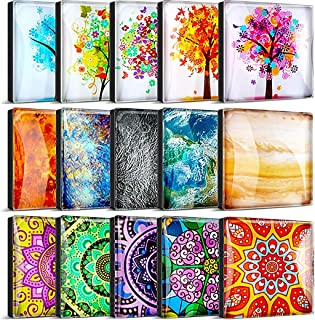 15 Pieces Tree Fridge Magnets Mandala Refrigerator Magnets Flowers Glass Magnets Planet Decorative Square Magnets for Frid...