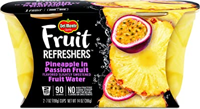 Del Monte Fruit Refreshers Snack Cups, Pineapple in Passion Fruit, 2 Cups, 7-Ounce (Pack of 6)