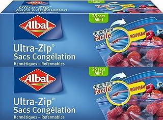 Albal Lot de 2 x 25 Sacs Congélation, Fermeture Ultra-Zip, Hermétique, 0,5 L