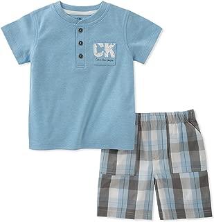 Calvin Klein Baby Boys 2 Pieces Bodysuit Shorts Set
