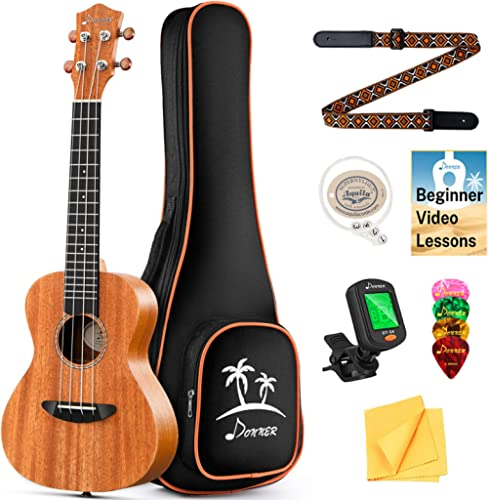 Donner Concert Ukulele Mahogany 23 Inch Ukelele Starter Bundle Kit with Free Online Lesson Gig Bag Strap Nylon String...