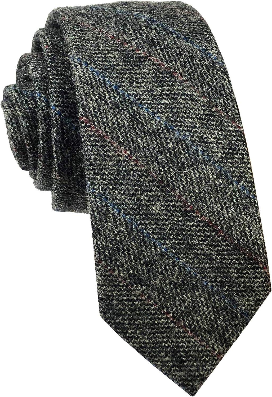 Wool Cashmere Neck Tie for Men Plaid Causal Formal Skinny Tweed Pattern Woolen Necktie Warm Style