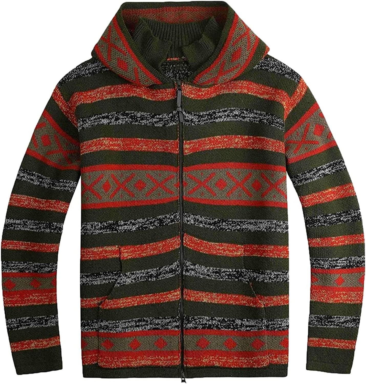 Mens Hooded Knitted Cardigan Coat Novelty Stripe Color Block Full Zipper Hoodies Outwear Lightweight Casual Sport Blouse