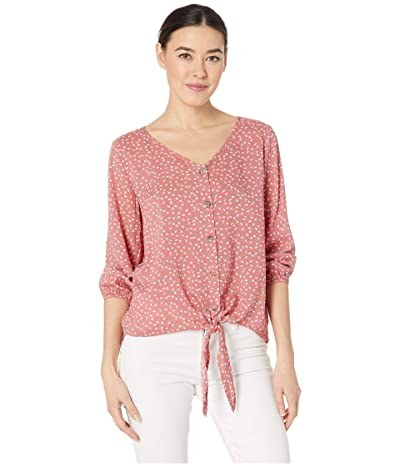 Mod-o-doc 3/4 Sleeve Tie Button Front Tee in Rayon Challis Print (Coral Ditsy Frl) Women