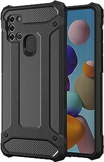 جراب NIUNU مع أربعة مصدات لهاتف Samsung Galaxy A21S ، 16 أقدام مختبر ضد الصدمات ، جراب واقي شديد التحمل - أسود