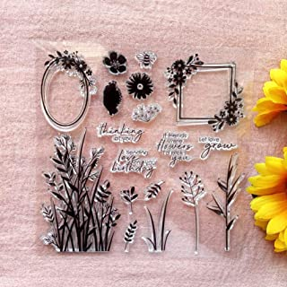 GAWEI Clear Stamps for Scrapbooking and Card Making Words Thinking of You Flowers Transparent Stamps Silicone Stamps Photo...