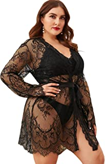 Floerns Women's Plus Size Sexy Lace Sheer Sleepwear Robe with Belted