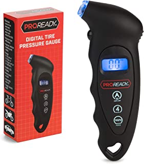 PROREADY Digital Tire Pressure Gauge, Handheld and Portable Gauges, with Backlit Display - Air and PSI Reader, Monitoring System, up to 150 PSI for Car, Truck, Bike - Fast, Easy and Accurate Read