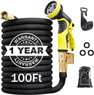 Skywoo Expandable Garden Hose 100ft Water Hose with 10 Function Spray Nozzle 3/4'' Solid Brass Fittings Strength No Kink F...
