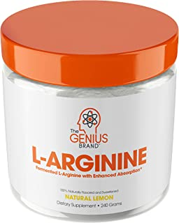 Genius L Arginine Powder - Fermented L-Arginine Nitric Oxide Supplement, Natural Muscle Builder & NO Booster for Healthy Blood Pressure, Protein Synthesis and Strength Building, Lemon, 30 Sv