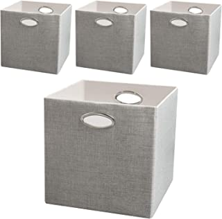 Posprica Storage Cubes, 12×12 Collapsible Storage Basket Bins,Heavy Duty Fabric Containers, 4pcs, Grey