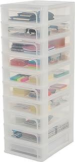 Iris Ohyama 135669 Tour de Rangement 10 tiroirs Organizer Chest, Plastique, Blanc, 10 x 4 L