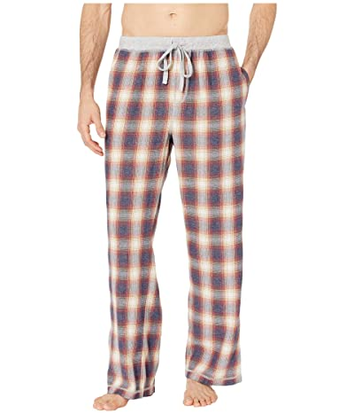 True Grit Melange Shadow Plaid Flannel Pajama Pants with Heather Knit Trim (Red) Men