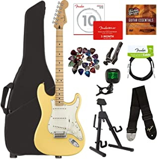 Fender Player Stratocaster, Maple - Buttercream Bundle with Gig Bag, Stand, Cable, Tuner, Strap, Strings, Picks, Capo, Fender Play Online Lessons, and Austin Bazaar Instructional DVD