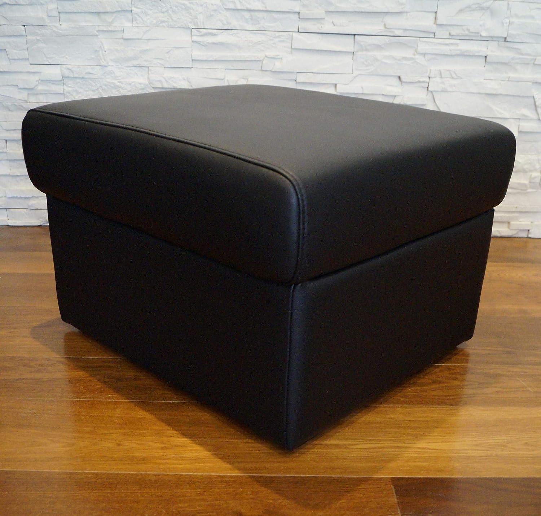 Quattro Meble Schwarz Echtleder Hocker aufklappbar mit Stauraum Sitzhocker Rindsleder Sitzwürfel 60x55 Fuhocker Polsterhocker Echt Leder Puff